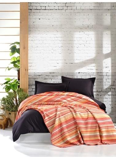 Eponj Home Battaniye Çift Kişilik Çizgili Kiremit-Turuncu Kiremit